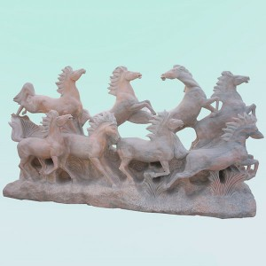 CC264 Limestone Eight Horse Sculpture
