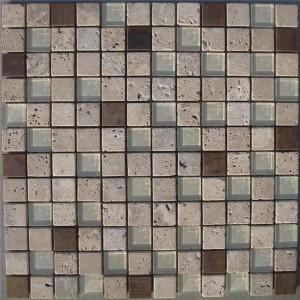 CM507  Mosaic  Travertine Glass & Copper Tumb (Pack of 4) 305x305x8